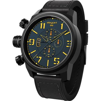 elegantsis Army 戰地海軍三眼計時腕錶-藍/48mm