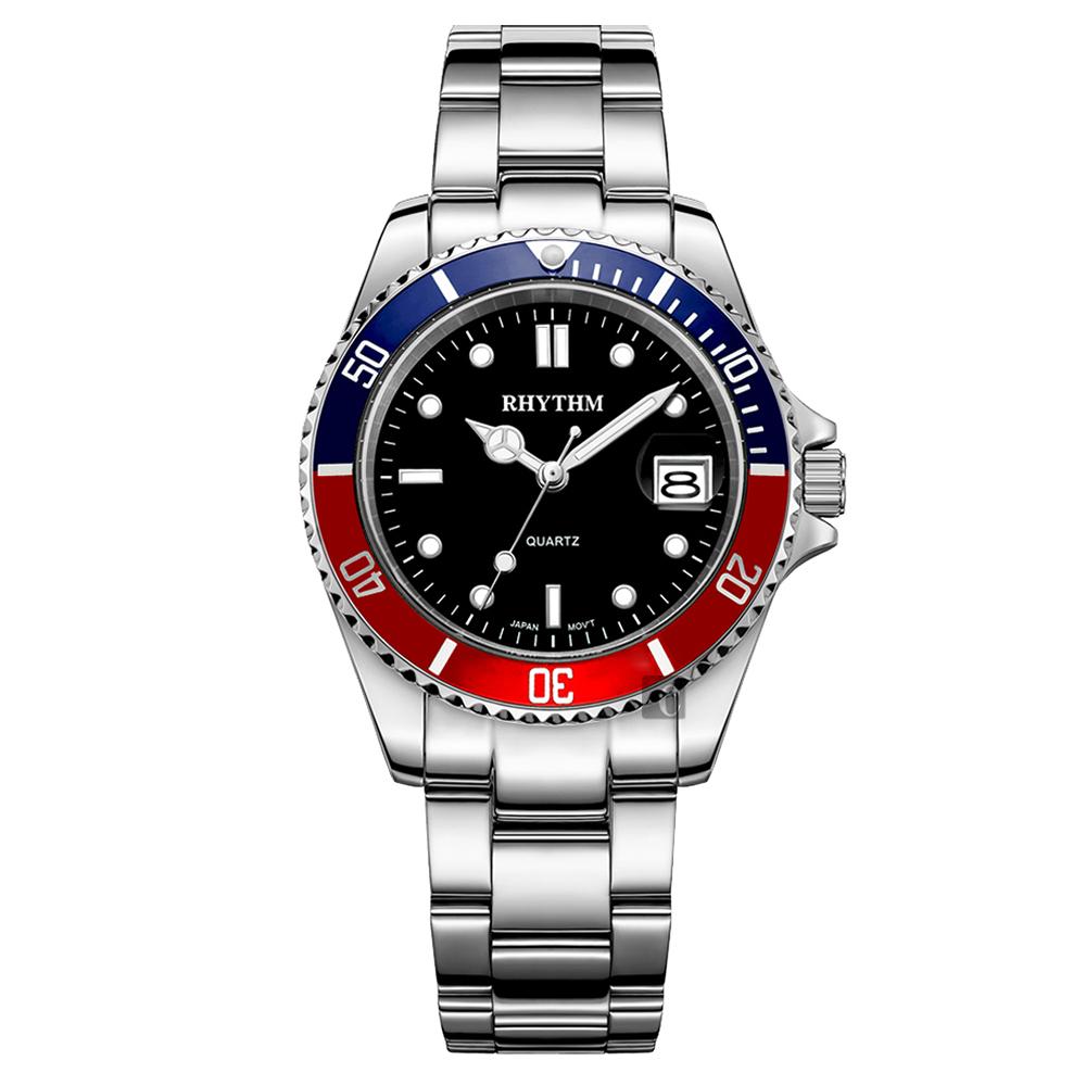 RHYTHM日本麗聲 Sport 100米石英手錶-藍x紅圈/40mm RQ1601S06