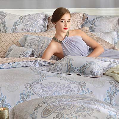 義大利La Belle 聖羅彌亞 雙人天絲四件式防蹣抗菌舖棉兩用被床包組