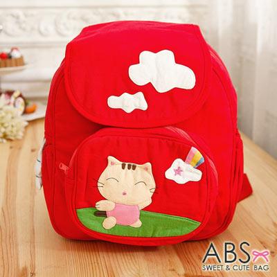 ABS貝斯貓 - 俏皮貓咪郊遊拼布包 小型後背包88-170 - 活力紅