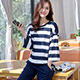 睡衣 條紋寬口 長袖兩件式舒適居家睡衣(白藍F) AngelHoney天使霓裳 product thumbnail 1