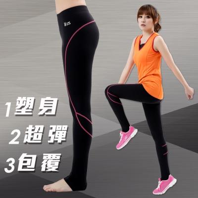 【遊遍天下】MIT台灣製3D彈力塑身吸排機能壓力褲P111黑色