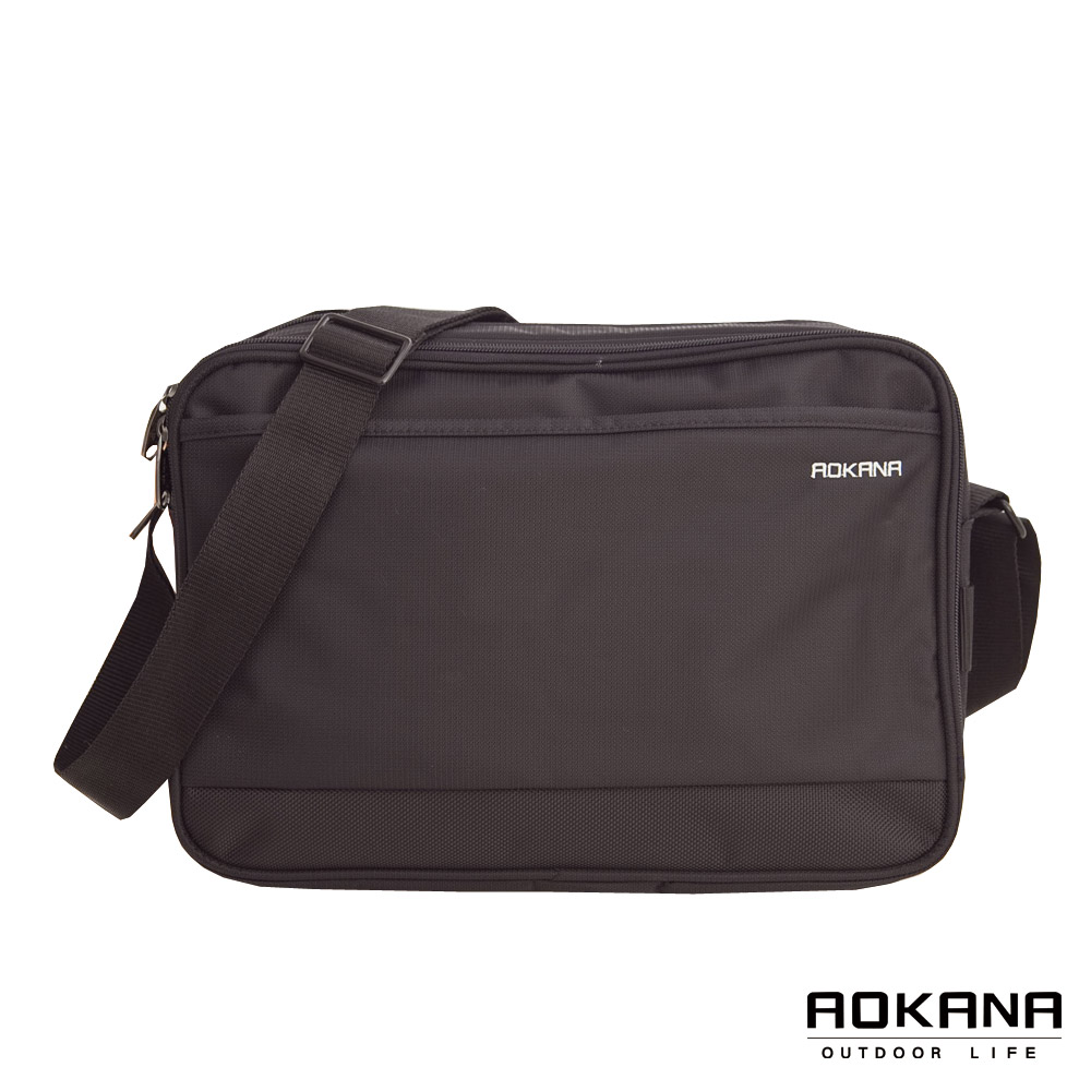 AOKANA奧卡納 MIT台灣製造 YKK拉鍊 簡約防潑水多隔層側背包(黑)02-015