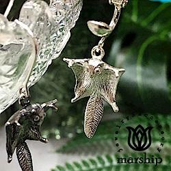 Marship 日本銀飾品牌 優雅滑行的飛鼠耳環 925純銀 亮銀款 夾式耳環