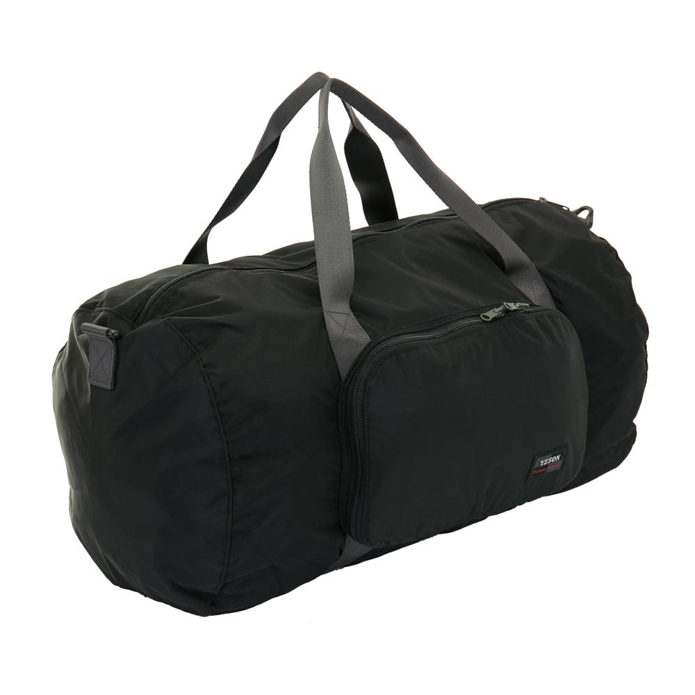 YESON - 商旅輕遊可摺疊式大容量手提斜背旅行袋-黑