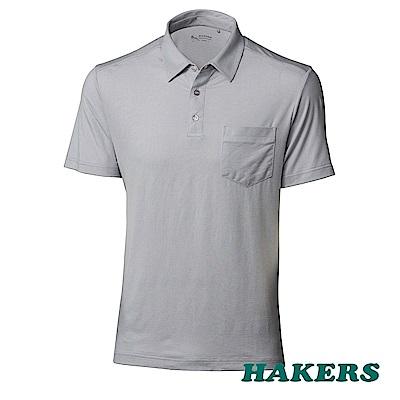 【HAKERS】男-l涼感抗菌POLO衫-灰色