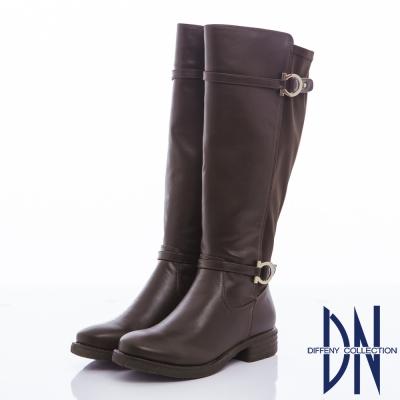 DN 經典百搭 異材質拼接銅環顯瘦長靴-咖