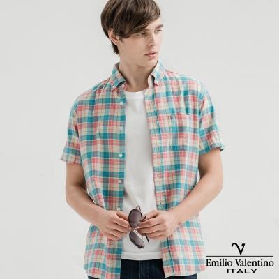 Emilio Valentino范倫提諾水洗格紋襯衫-粉紅