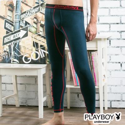 PLAYBOY運動型男流線設計蓄熱保暖內搭褲-丈青底紅線