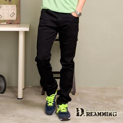 Dreamming 韓版斜紋布伸縮小直筒褲-黑色