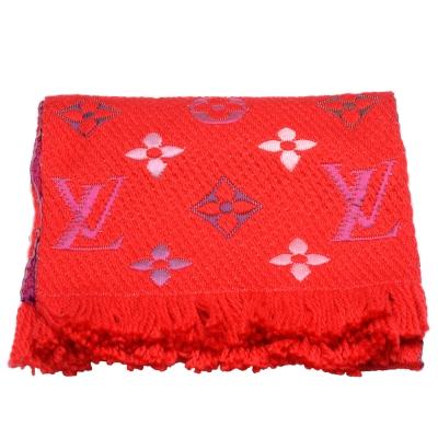 LV M70647 LOGOMANIA RAINBOW織花羊毛雙面針織圍巾(紅)