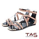 TAS 羅馬風小圓鉚釘繫帶後包涼鞋-浪漫粉