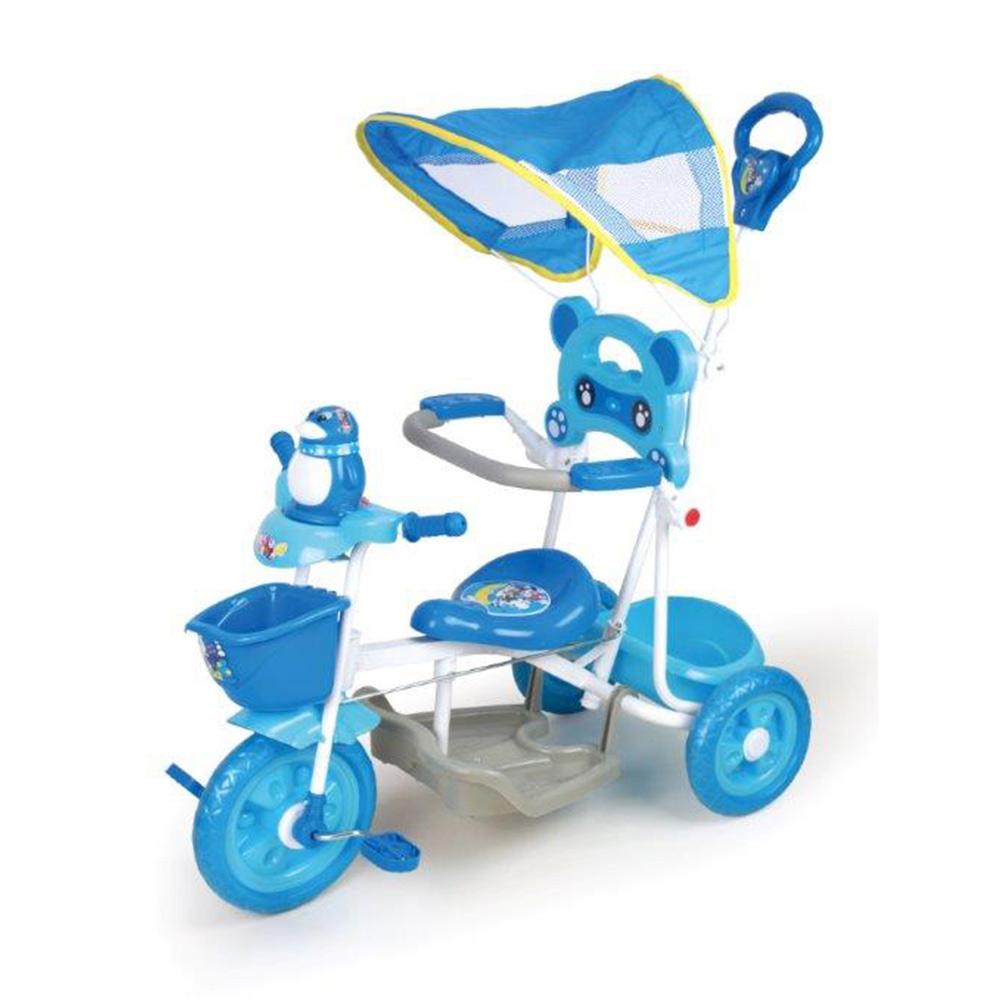 寶貝樂精選遮陽棚俏皮企鵝音樂三輪車-藍色