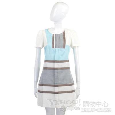 Kristina Ti 白色幾何圖形短袖洋裝