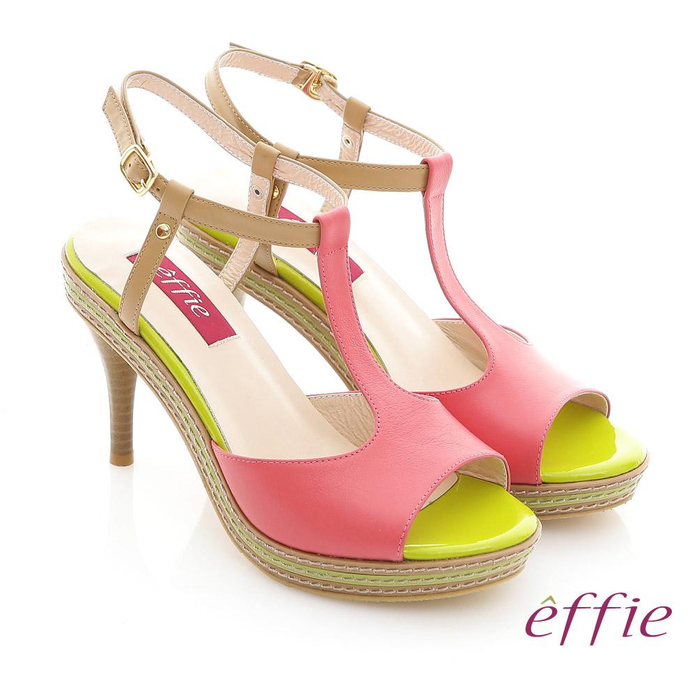 effie 修身美型 全真皮T字帶撞色高跟涼鞋 桃粉