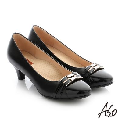 A.S.O 舒適通勤 全真皮雙條帶釦飾奈米高跟鞋 黑色