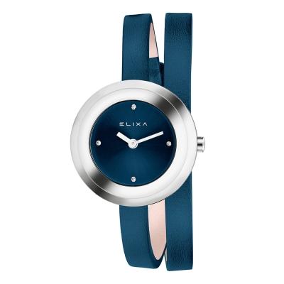 ELIXA Finesse系列銀框 闇藍色晶鑽錶盤/皮革纏繞式錶帶28mm