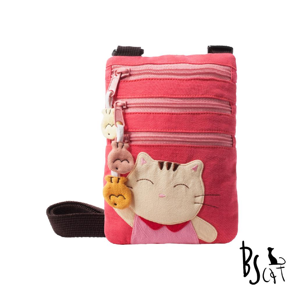 ABS貝斯貓 可愛貓咪拼布 郊遊隨身包 肩/斜背包 (粉) 88-195 @ Y!購物