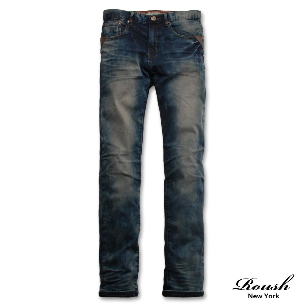 【 Roush 】三角形口袋皮飾刷色牛仔褲