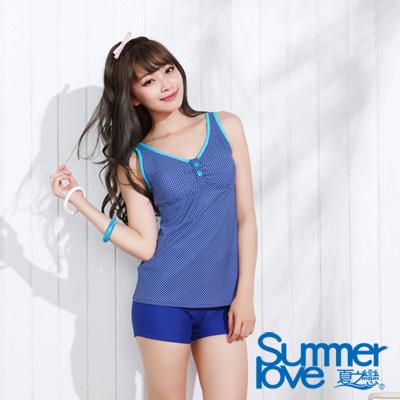 夏之戀SUMMER LOVE 比基尼泳衣 水玉點點長版兩件式泳衣 藍色