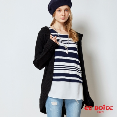 ETBOITE 箱子 BLUE WAY 柔軟毛織連帽外套-黑