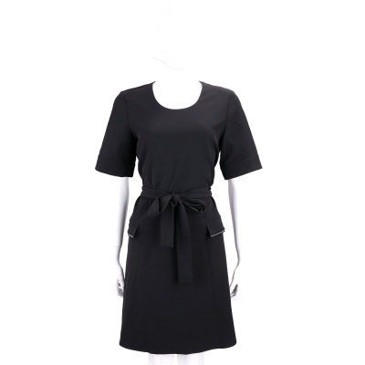 BLUGIRL-FOLIES 黑色綁帶設計短袖洋裝