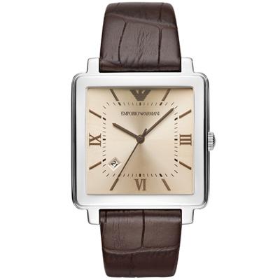 Emporio Armani亞曼尼20週年紀念方形復刻腕錶-38mm/香檳x咖啡色