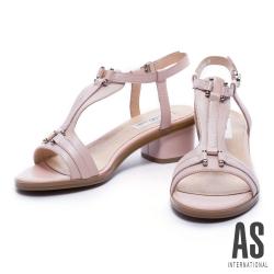 涼鞋 AS 優雅蜥蜴紋羊皮T字粗跟涼鞋-粉