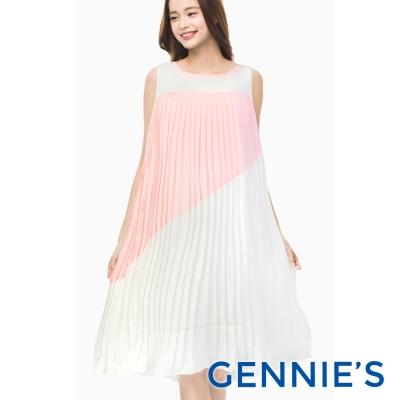 Gennies專櫃-皺褶雪紡飄逸洋裝-(C1B03-粉色)-M