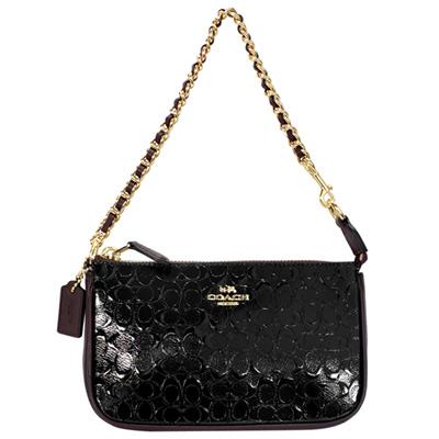 COACH黑色C Logo亮面漆皮編織鍊帶手提掛小包