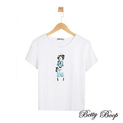 Betty Boop貝蒂 長裙貝蒂印圖彈性上衣(白色)