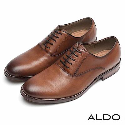 ALDO 原色真皮雙車線綁帶木紋粗跟男鞋~摩登焦糖