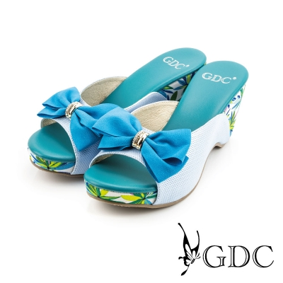 GDC-熱帶風情蝴蝶結飾扣楔型厚底真皮休閒涼拖鞋-藍色