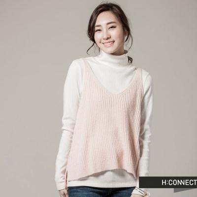 H-CONNECT-韓國品牌-女裝-純色羊毛針織背心-粉