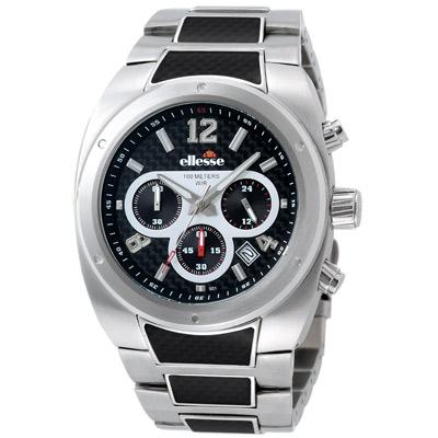 【ellesse】Sportivo系列 撼動速度計時腕錶(銀)