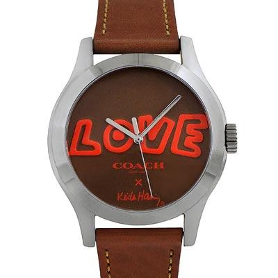 COACH Keith Haring焦糖色真皮時尚腕錶