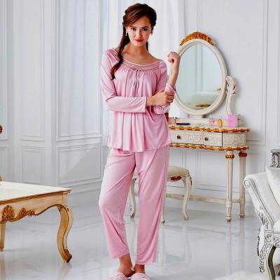 睡衣 彈性珍珠絲質 長袖兩件式睡衣(57203)豆沙粉-台灣製造 蕾妮塔塔