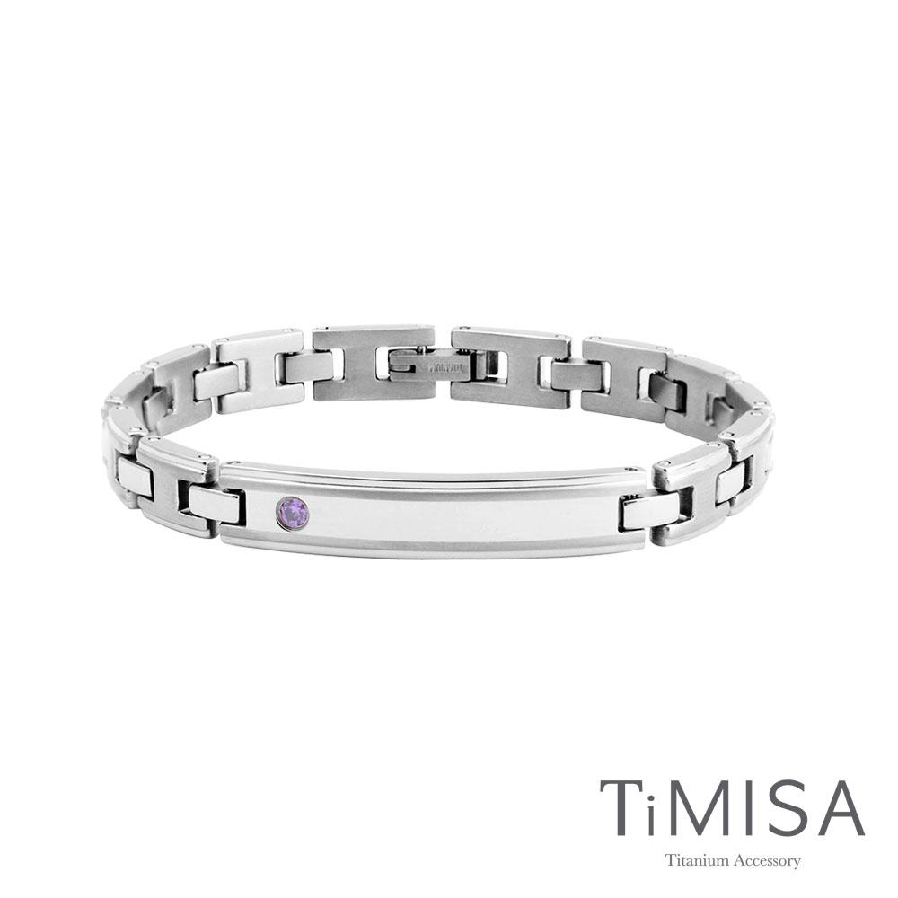 TiMISA《純粹品味-細版晶鑽》純鈦鍺手鍊(雙色可選)