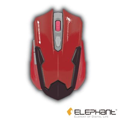 ELEPHANT 龍戰系列 機械人電競藍光有線雷射滑鼠(ELE-G11DR)深紅