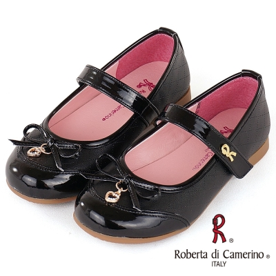 Roberta諾貝達 氣質格紋豚皮公主皮鞋童鞋-黑(中大童)
