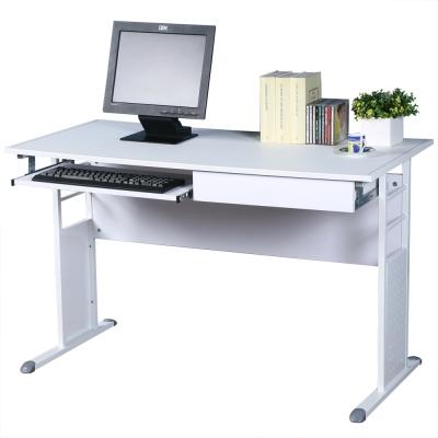 Homelike 巧思辦公桌 亮白系列-白色仿馬鞍皮120cm(附抽屜 鍵盤架)