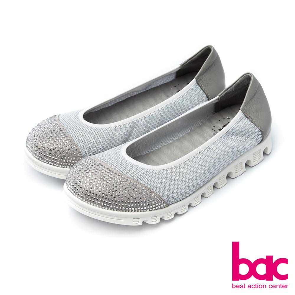 bac運動時尚-鞋頭燙鑽拼接透氣網狀布料休閒鞋-銀灰