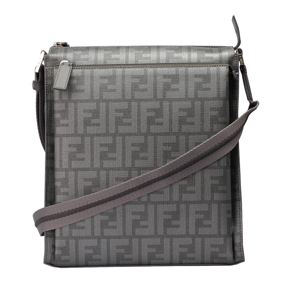FENDI 經典滿版FF LOGO 防刮PVC拉鍊斜背記者包(灰色)