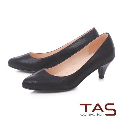 TAS素面壓紋羊絨皮高跟鞋-百搭黑