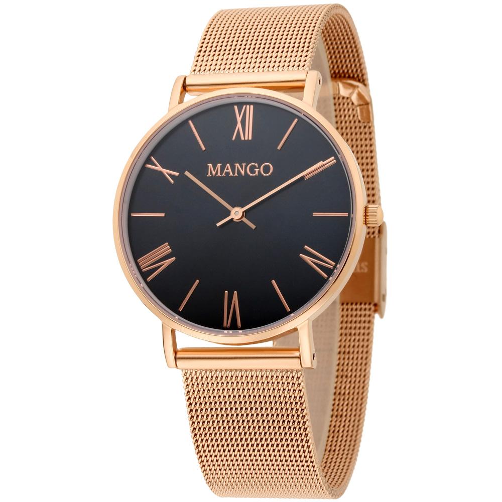 MANGO 羅馬數字米蘭錶帶時尚腕錶-黑/玫瑰金-34mm