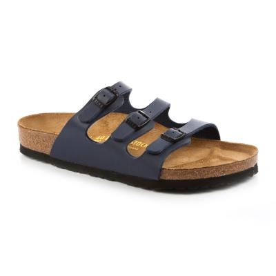 勃肯BIRKENSTOCK 054751。佛羅里達 三條復古拖鞋(深藍)