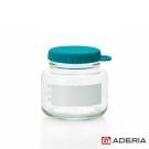 【ADERIA】日本進口易開玻璃保鮮罐320m(藍綠)