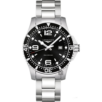 LONGINES 浪琴 征服者300米潛水石英腕錶-黑x銀/44mm
