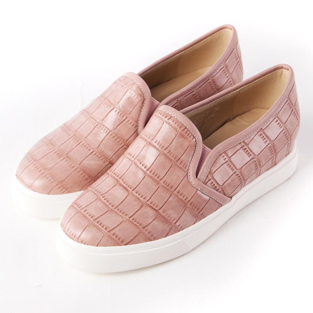 ALLEGREZZA‧舒適時尚‧個性石頭紋內增高圓頭厚底樂福鞋 粉
