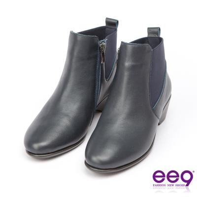 ee9經典手工~質感簡約百搭素面粗跟踝靴*藍色
